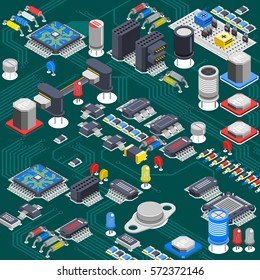 Semiconductor electronic circuit board isometric background with electrolytic capacitors processors and various microcomponents installed on backboard vector illustration