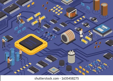 Semiconductor element production isometric composition with construction workers on circuit board moving capacitors transistors and microprocessors vector illustration