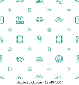 semiconductor icons pattern seamless white background. Included editable outline CPU, CPU in tree, CPU in car, CPU in house icons. semiconductor icons for web and mobile.