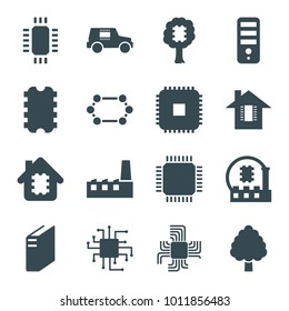 Semiconductor icons. set of 16 editable filled semiconductor icons such as cpu