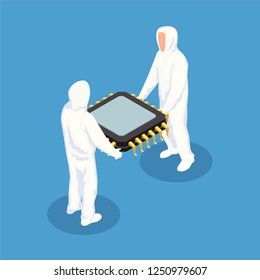 Semiconductor isometric design concept with two men in white protective clothing holding big processor unit vector illustration