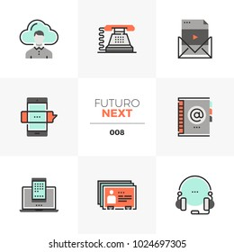 Semi-flat icons set of business communication, mobile connection. Unique color flat graphics elements with stroke lines. Premium quality vector pictogram concept for web, logo, branding, infographics.