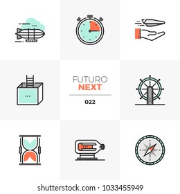 Semi-flat icons set of business perspectives and new horizons. Unique color flat graphics elements with stroke lines. Premium quality vector pictogram concept for web, logo, branding, infographics.