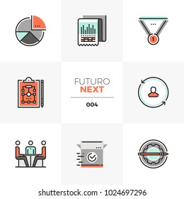 Semi-flat icons set of business plan, market operation strategy. Unique color flat graphics elements with stroke lines. Premium quality vector pictogram concept for web, logo, branding, infographics.