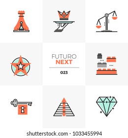Semi-flat icons set of business symbols and strategy elements. Unique color flat graphics elements with stroke lines. Premium quality vector pictogram concept for web, logo, branding, infographics.