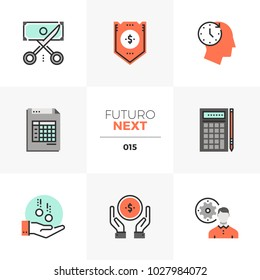 Semi-flat icons set of company budget management, accounting taxes. Unique color flat graphics elements with stroke lines. Premium quality vector pictogram concept for web, logo, branding, infographic