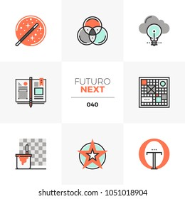 Semi-flat icons set of design thinking, sketching project ideas. Unique color flat graphics elements with stroke lines. Premium quality vector pictogram concept for web, logo, branding, infographics.