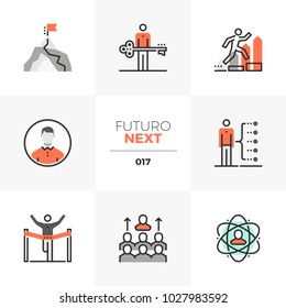 Semi-flat icons set of develop leadership skills and achieve goal. Unique color flat graphics elements with stroke lines. Premium quality vector pictogram concept for web, logo, branding, infographics