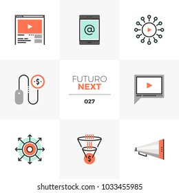 Semi-flat icons set of digital marketing, video advertising. Unique color flat graphics elements with stroke lines. Premium quality vector pictogram concept for web, logo, branding, infographics.