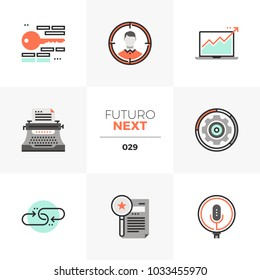 Semi-flat icons set of internet search marketing, growth hacking. Unique color flat graphics elements with stroke lines. Premium quality vector pictogram concept for web, logo, branding, infographics.