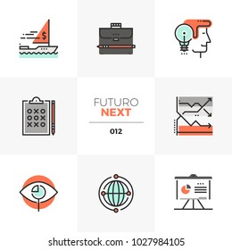 Semi-flat icons set of investment strategy, ways of making money . Unique color flat graphics elements with stroke lines. Premium quality vector pictogram concept for web, logo, branding, infographics