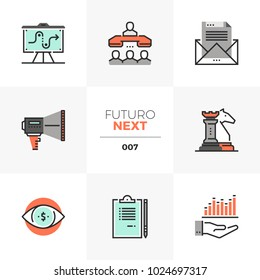 Semi-flat icons set of market strategy, success business tactics. Unique color flat graphics elements with stroke lines. Premium quality vector pictogram concept for web, logo, branding, infographics.