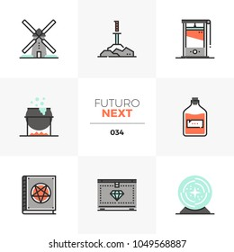 Semi-flat icons set of medieval culture, quest item, magic potion. Unique color flat graphics elements with stroke lines. Premium quality vector pictogram concept for web, logo, branding, infographics