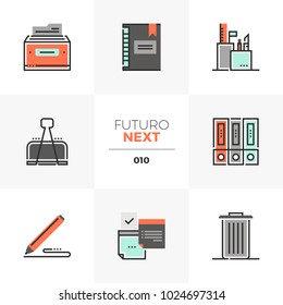 Semi-flat icons set of office tools and equipment, business papers. Unique color flat graphics elements, stroke lines. Premium quality vector pictogram concept for web, logo, branding, infographics.