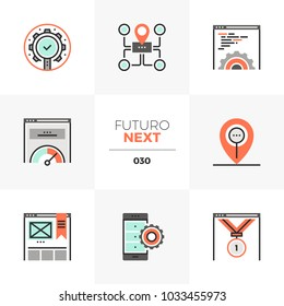 Semi-flat icons set of search optimization tools, seo development. Unique color flat graphics elements with stroke lines. Premium quality vector pictogram concept for web, logo, branding, infographics