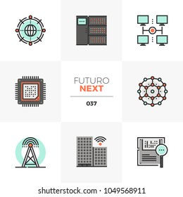 Semi-flat icons set of smart city wireless network infrastructure. Unique color flat graphics elements with stroke lines. Premium quality vector pictogram concept for web, logo, branding, infographics