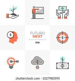 Semi-flat icons set of smart investing and crowdsource capital. Unique color flat graphics elements with stroke lines. Premium quality vector pictogram concept for web, logo, branding, infographics.