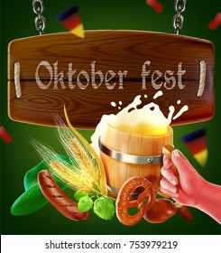 a semi-realistic illustration of the wooden signboard of the october or oktober festival and their element such as bred,pork,a mug of beer,bavalian food,soucess