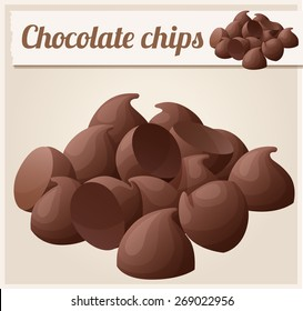 Semisweet chocolate chips. Detailed Vector Icon. Series of food and drink and ingredients for cooking.