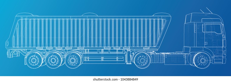 Semi-trailer dump truck sketch isolated on blue background. 3-axle trailer truck. Tracing illustration of 3d. EPS 10 vector format.