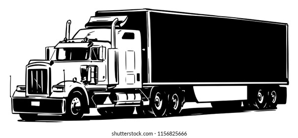 Semi-trailer truck. Black and white illustration