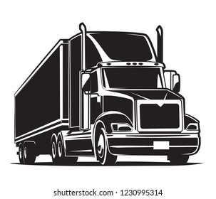 Semi-Trailer Truck Icon. Black and White illustration