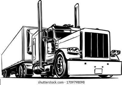 Semi-trailer truck isolated on white background