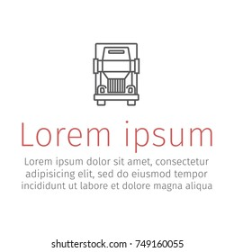 Semi-trailer truck line icon.Vector illustration for websites.