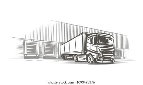 Semitrailer truck at loading dock sketch. Vector.