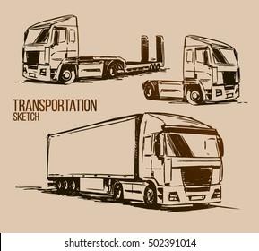 Semi-trailer truck sketch