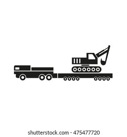 A semitrailer truck transporting an excavator. Vector icon