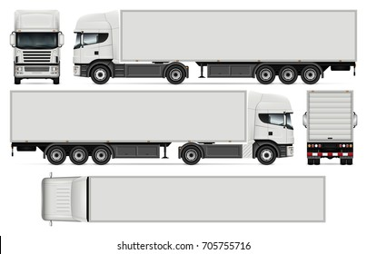 Semi-trailer truck vector mock-up for car branding and advertising. Cargo vehicle set on white. All layers and groups well organized for easy editing and recolor. View from side, front, back, top.