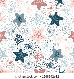 Semless colorful hand drawn pattern with starfish. Abstract childish texture for fabric, textile, apparel, wrapping paper. Vector illustration. Vector marine seamless pattern, starfish, corals.