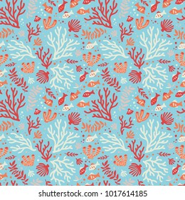 Semless sea pattern with fishes and corals.