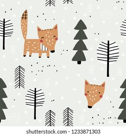 Semless woodland pattern with cute fox and trees. Vector illustration. Scandinavian style. Creative hand drawn winter background