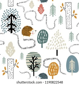 Semless woodland pattern with hedgehogs. Scandinaviann style childish texture for fabric, textile, apparel, nursery decoration. Vector illustration