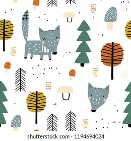Semless woodland pattern with wolf and trees. Vector illustration. Scandinavian style. Creative hand drawn background