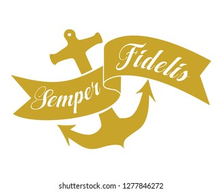 Semper fidelis, always faithful; Latin quote banner with anchor icon