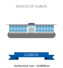 Senate of Gabon in Libreville. Flat cartoon style historic sight showplace attraction web site vector illustration. World countries cities vacation travel sightseeing Africa collection.