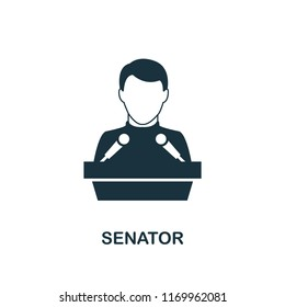 Senator icon. Monochrome style design from professions collection. UI. Pixel perfect simple pictogram senator icon. Web design, apps, software, print usage.