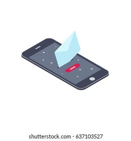 Send email using phone.  Isometric smart phone with email symbol on the screen. Vector illustration business concept design.