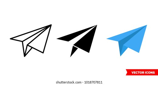 Send icon of 3 types: color, black and white, outline. Isolated vector sign symbol.