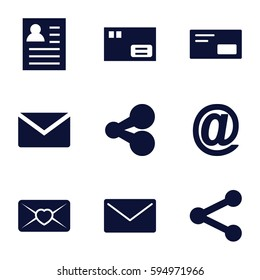 send icons set. Set of 9 send filled icons such as love letter, envelop, share, parcel, mail, resume