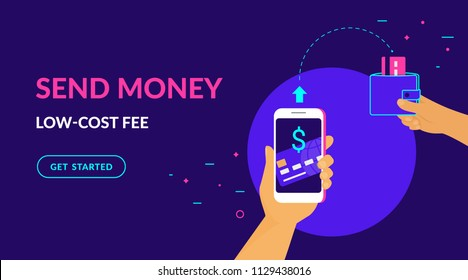 Send money low-cost fee flat vector neon illustration for ui ux web and mobile design with text and button. Man is sending money from credit card to his friend wallet via mobile app on smart phone
