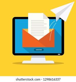 Sending email concept illustration. flat design. Email marketing.
