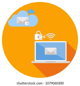 Sending email with encryption to the Cloud technology system to protect unauthorized access with laptop computer via wifi transmission. Flat design.