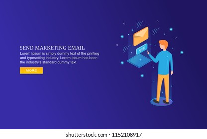 Sending email, marketing email content, newsletter, advertising flat 3D style isometric banner on blue background