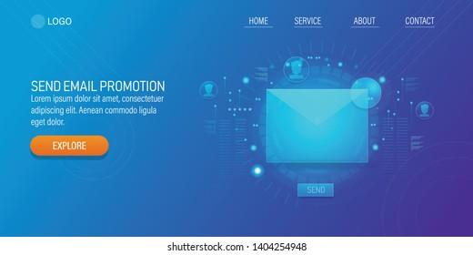 Sending email, Email newsletter, Digital marketing, flat style vector banner illustration isolated on blue background