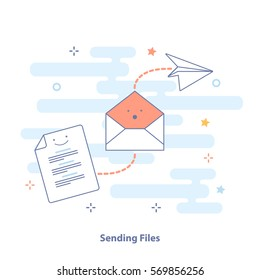 Sending Files by mail or email. The document form, envelope and paper airplane. Outline icon and concept vector set in light colors. Premium quality illustration design for website, app or banner.