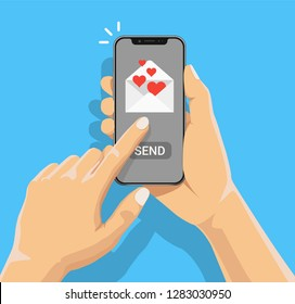 Sending love message concept. Hand holding iphone with heart, send button on the screen. Finger touch screen. Vector flat cartoon illustration for advertisement, web sites, banners, infographic design